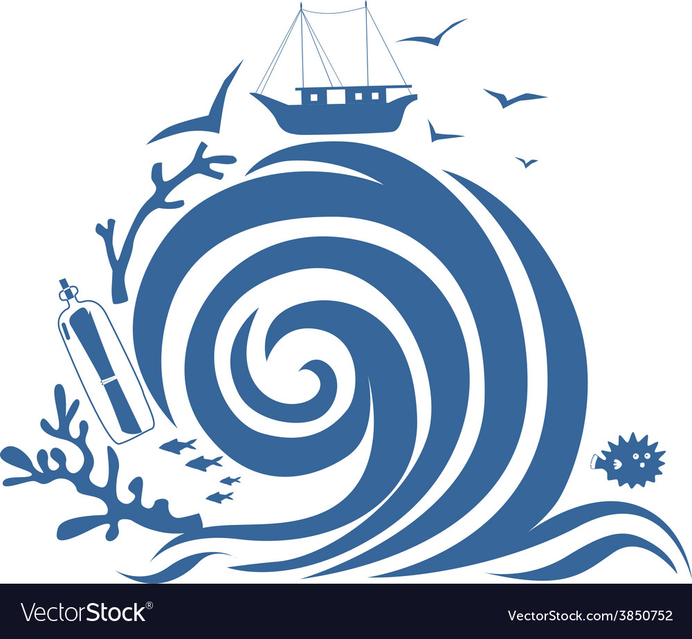 Big wave and fishing vessel vector