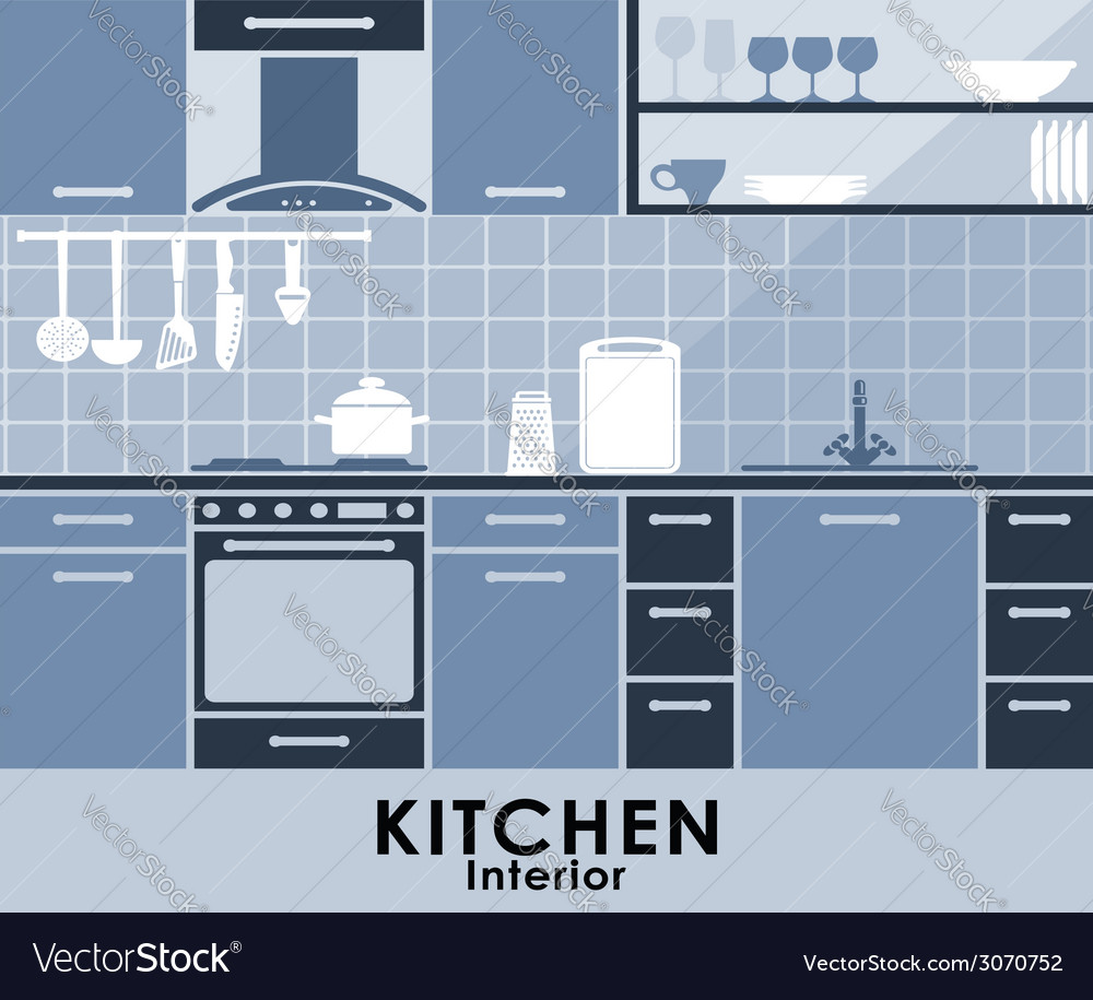 Blue kitchen interior in flat style vector