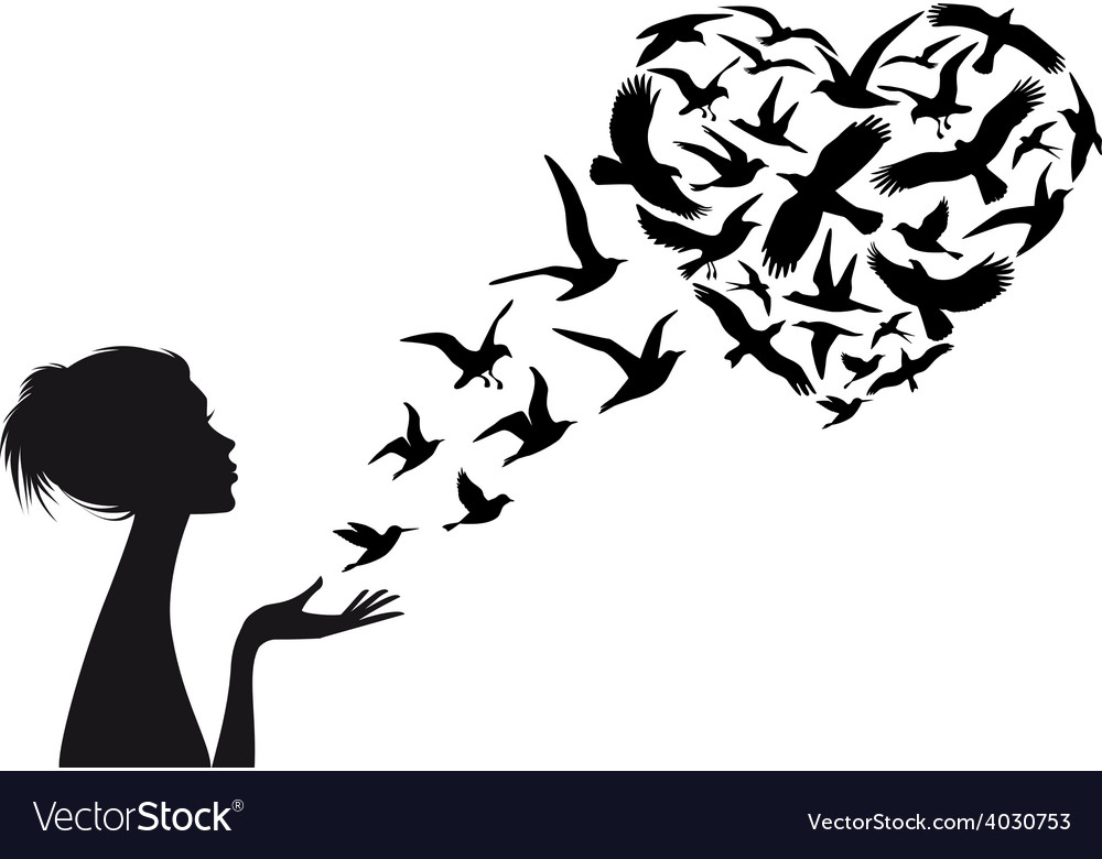 Woman with flying birds vector
