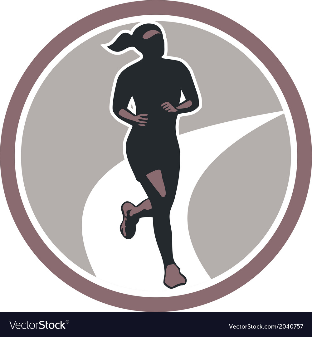 Female marathon runner run retro vector