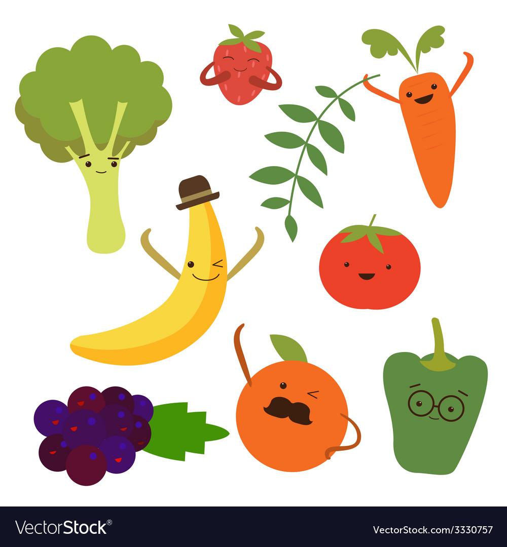 Vegetable food cartoons vector