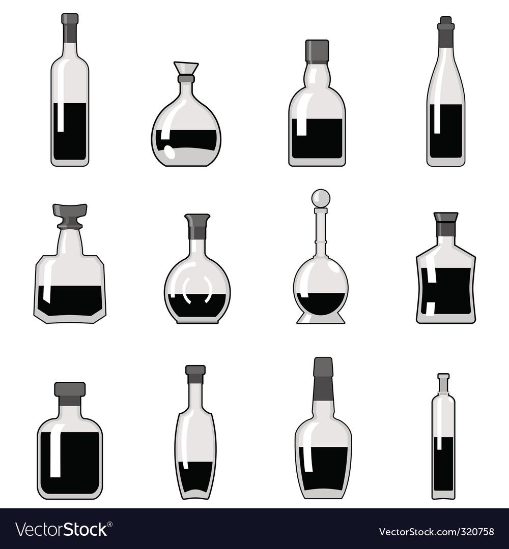 Bottle set vector