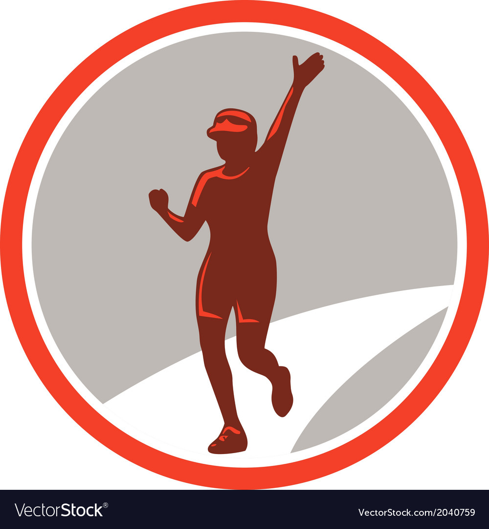 Female marathon runner running circle retro vector