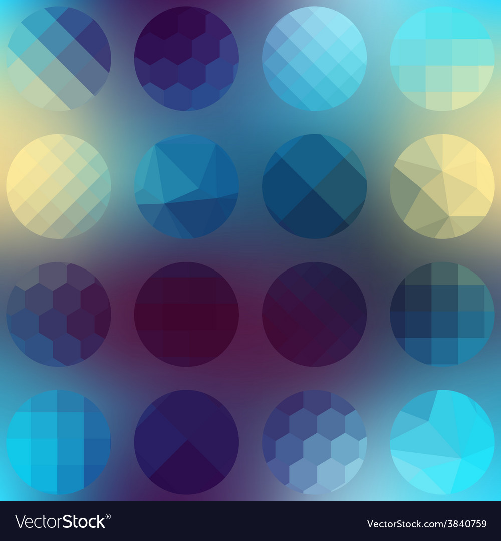 Pattern circles of different texture on blurred vector