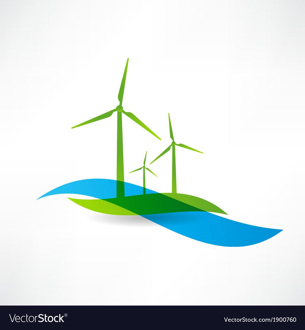 Set of wind turbines icon vector
