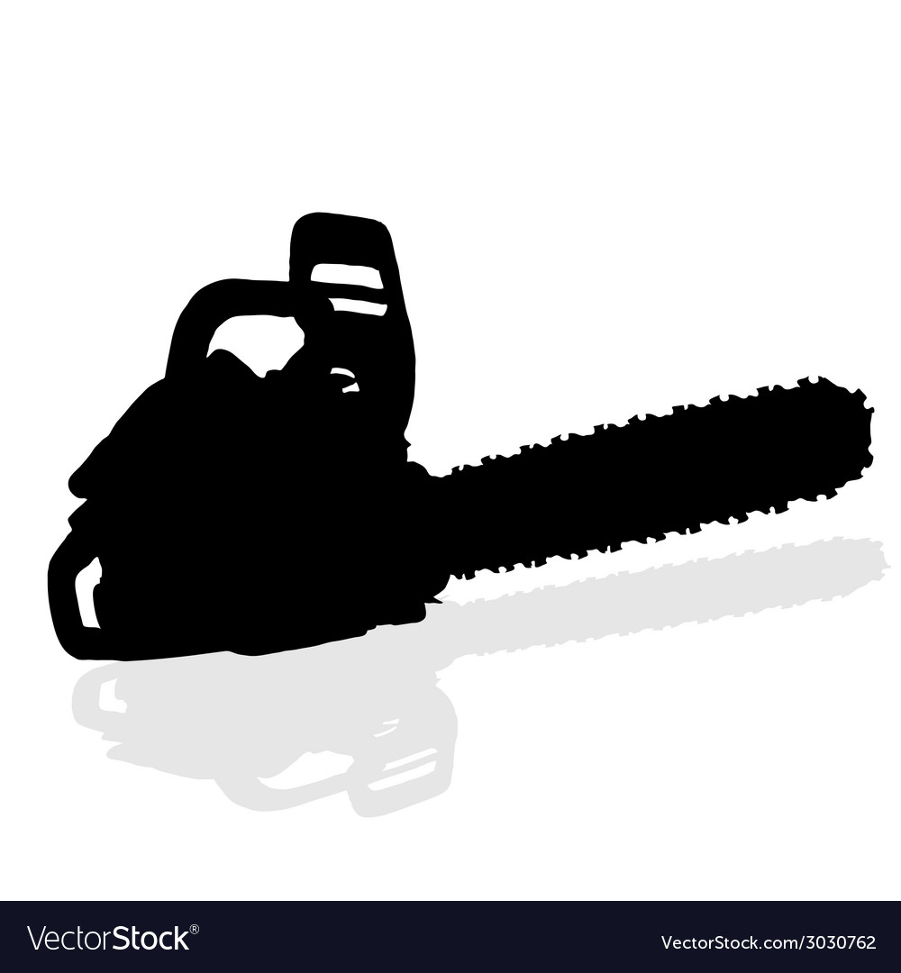 Chainsaw black silhouette vector