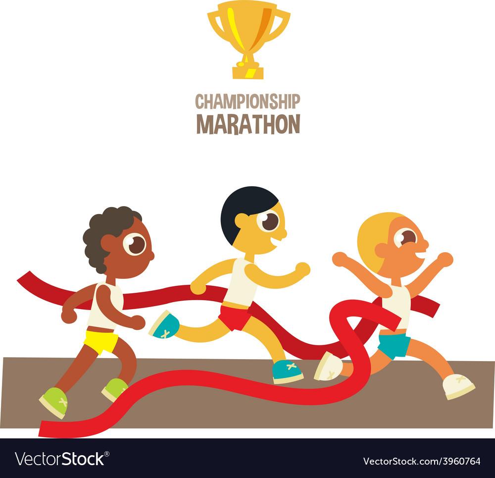 Male championship marathon runners vector