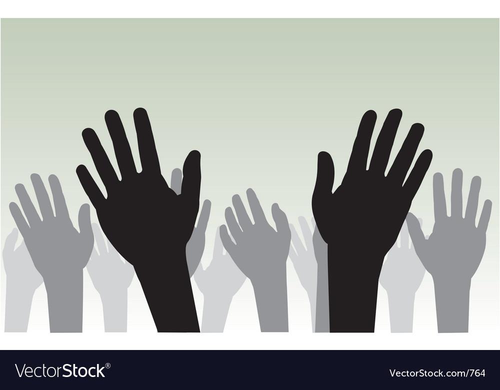 Raised hands vector