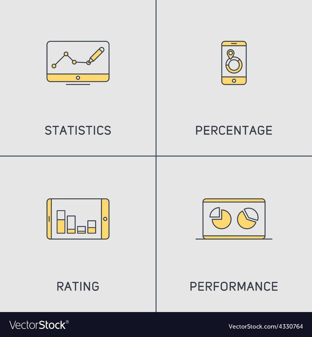 Set of modern thin line icons statistics vector