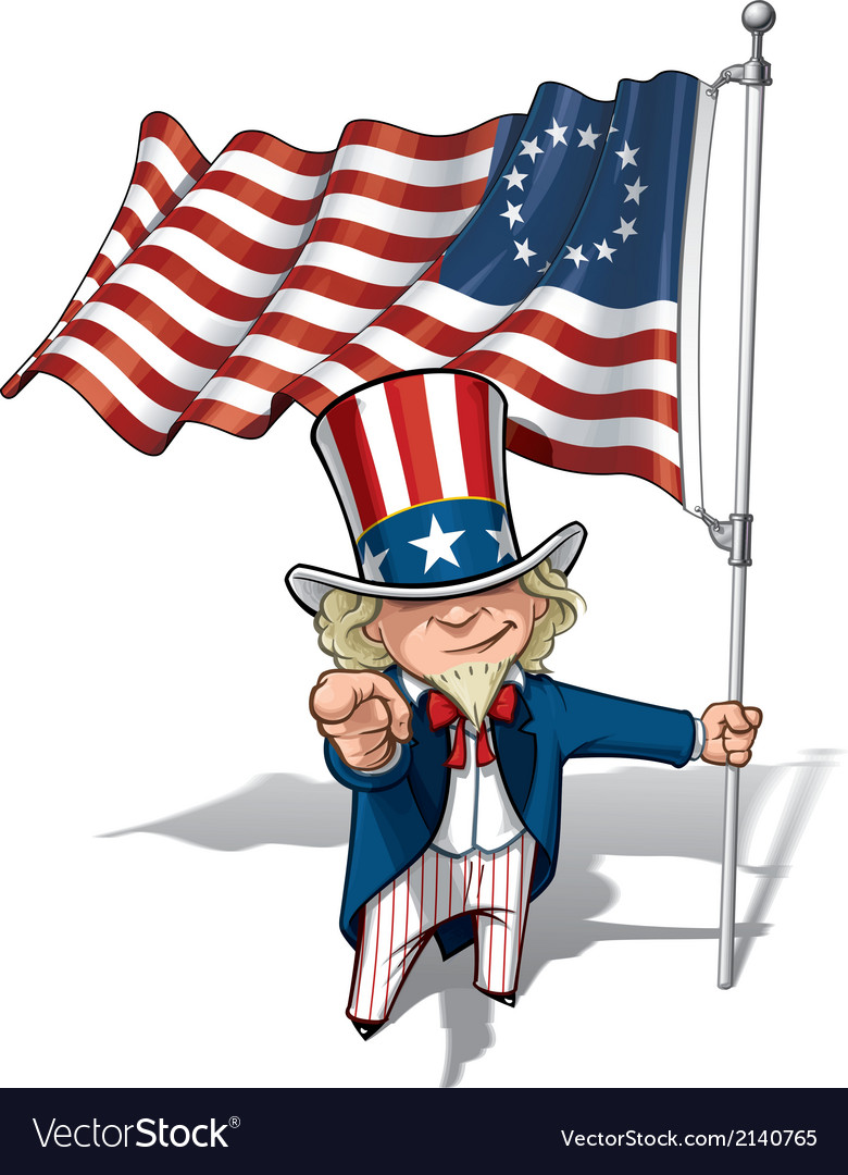 Uncle sam i want you betsy ross flag vector