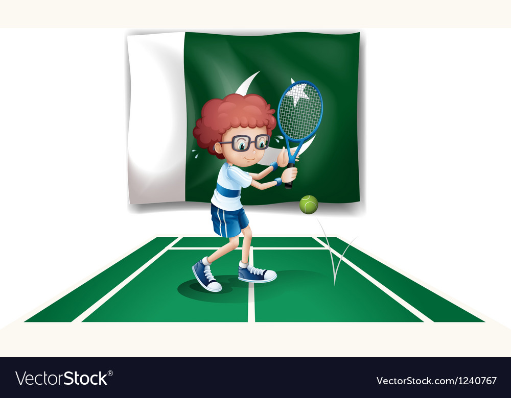A tennis player in front of the flag of pakistan vector