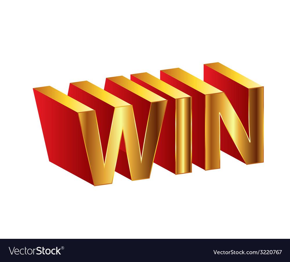Golden 3d of the words win vector