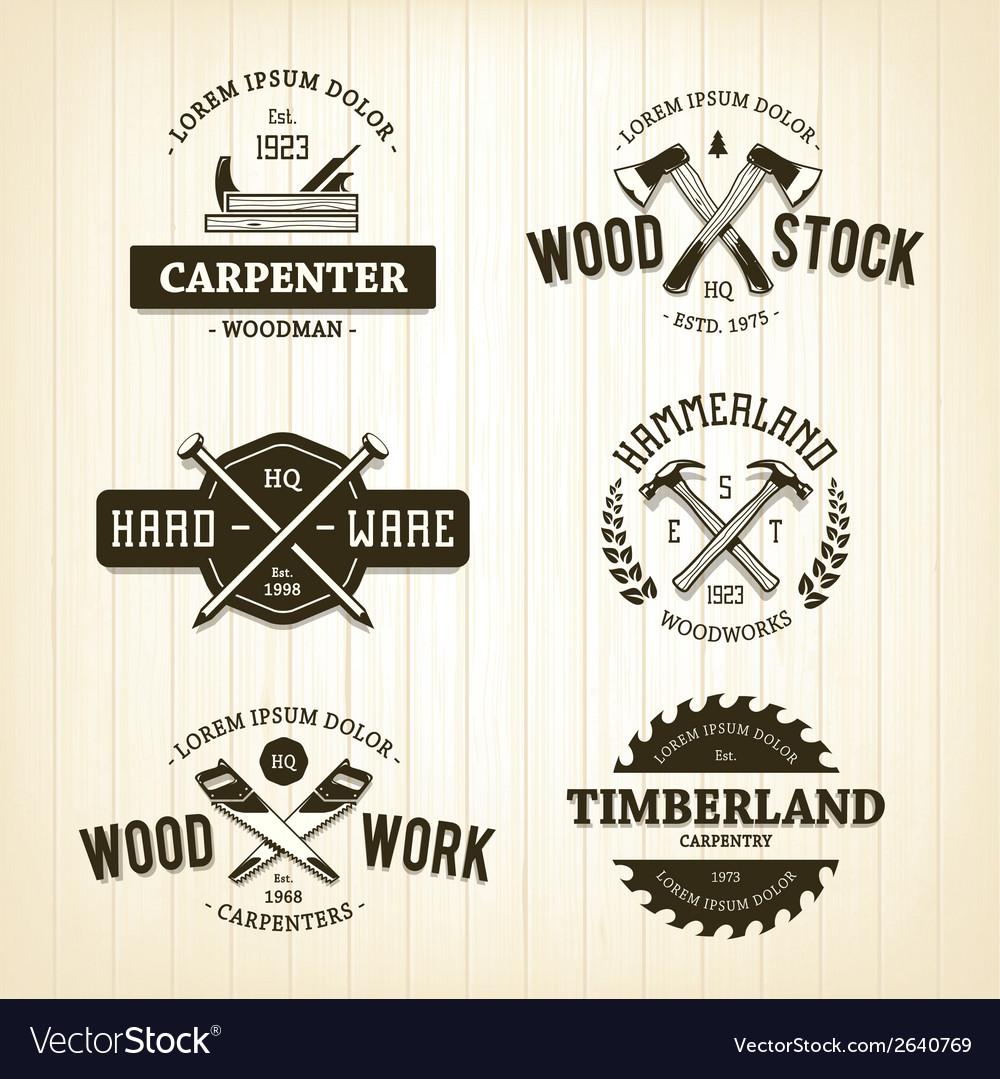 Carpentry emblems 1 vector