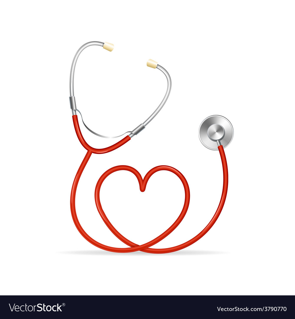 Red stethoscope vector