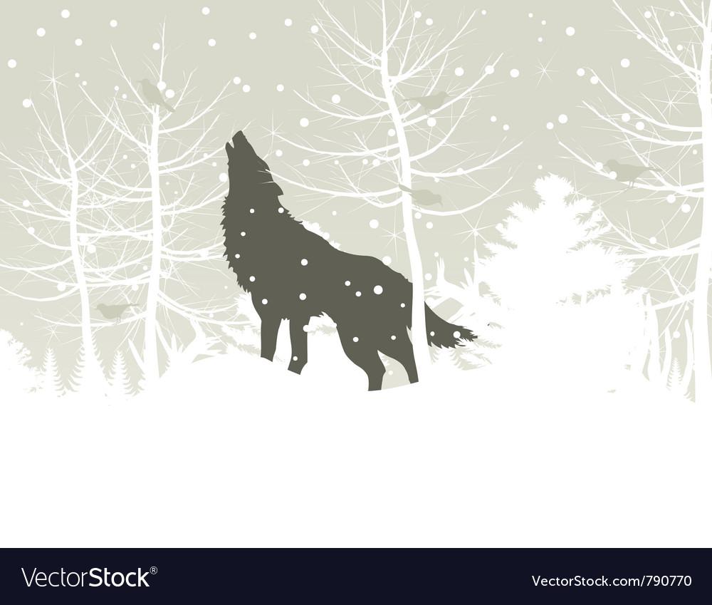 Wolf howls in winter woods vector
