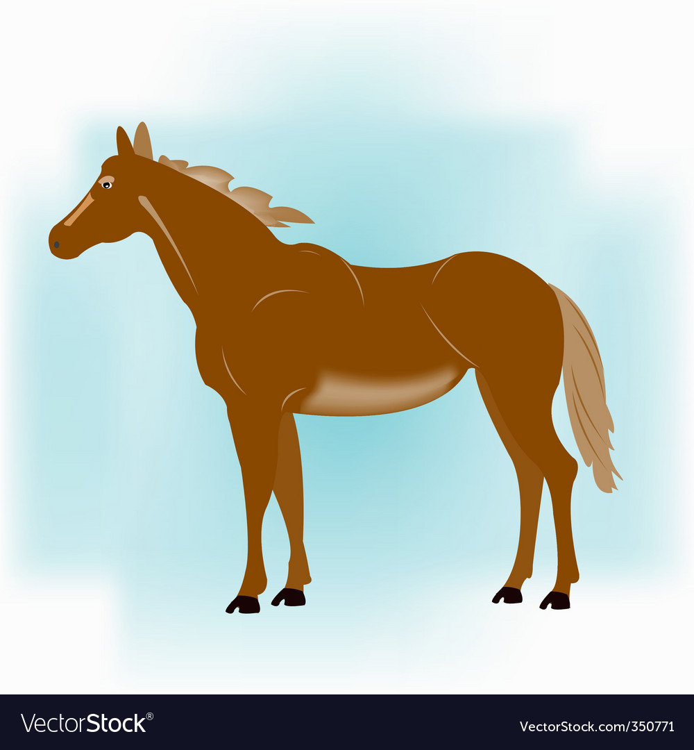 Horse on turn blue background vector