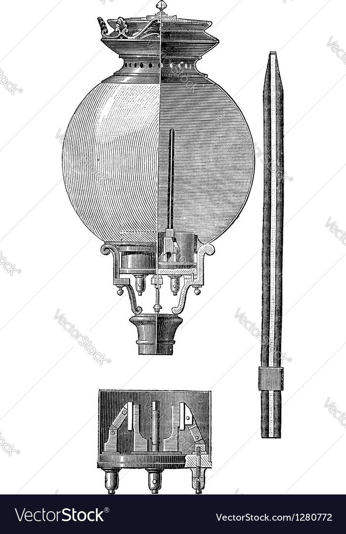 Yablochkov candle vintage engraved vector