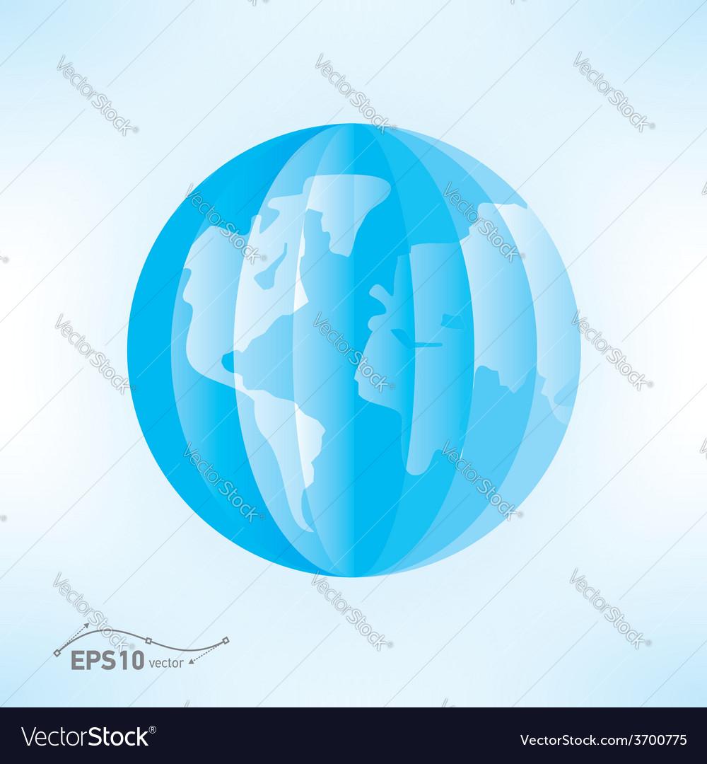 Globe origami 3d paper vector