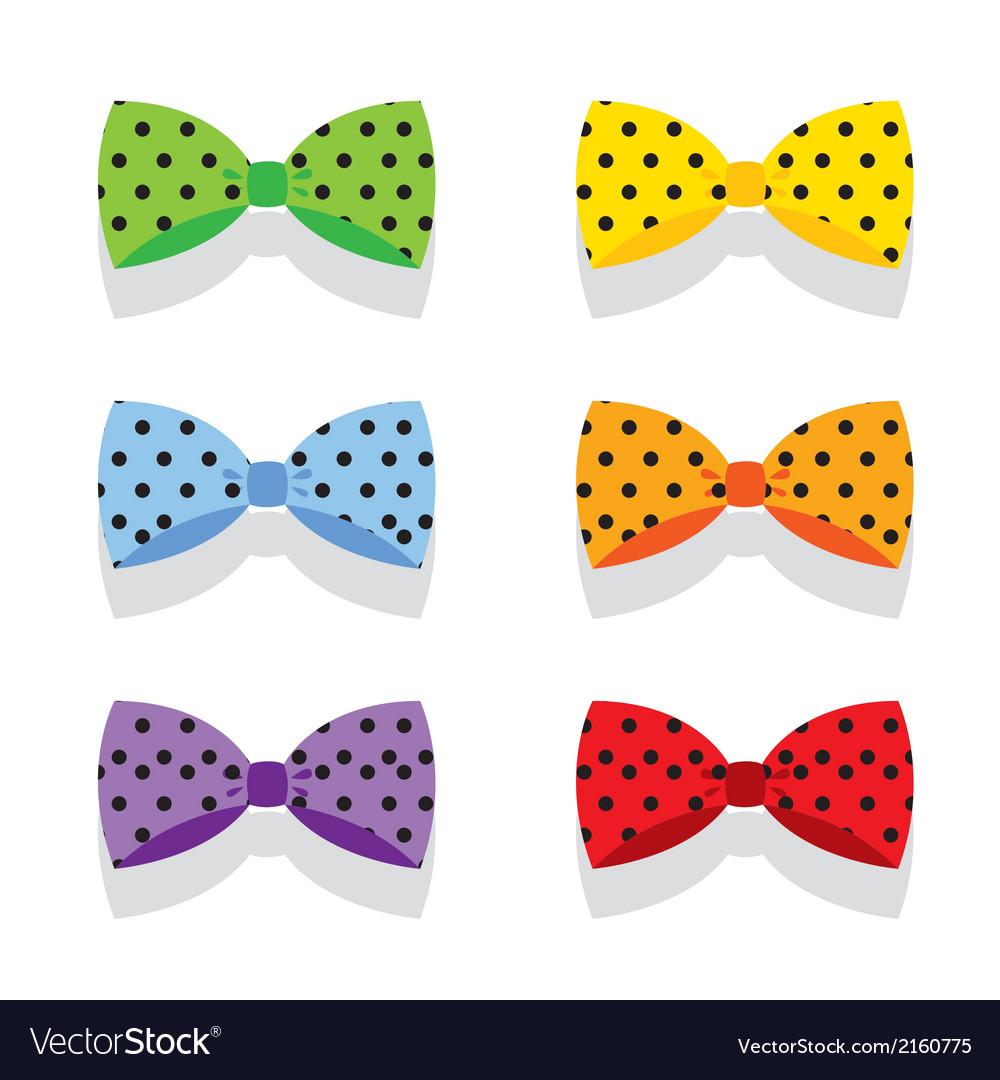 Set of colorful polka dot bow ties vector