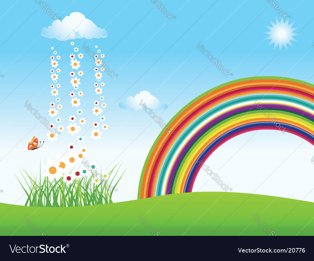 Nature clouds green field vector