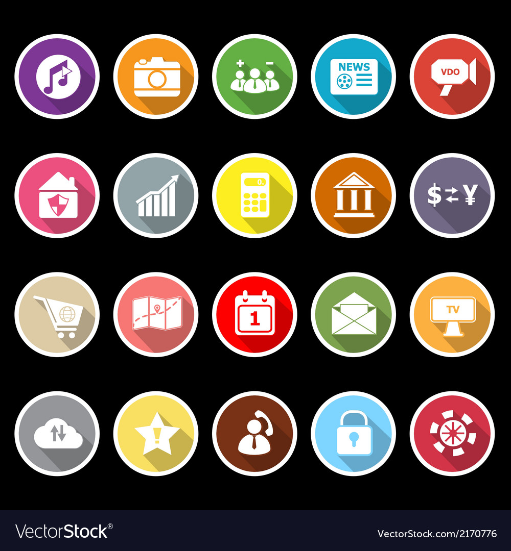 Smart phone icons with long shadow vector