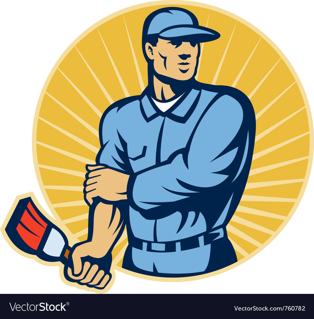 Painter worker with paint brush vector