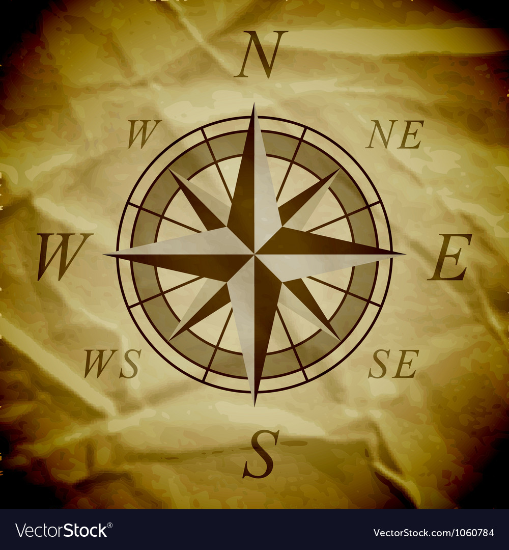 Wind rose on an old paper vector