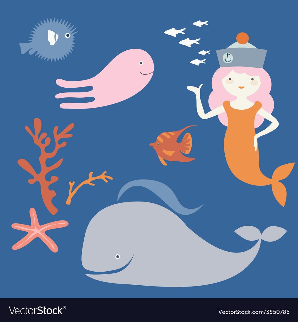 Ocean fantastic characters vector