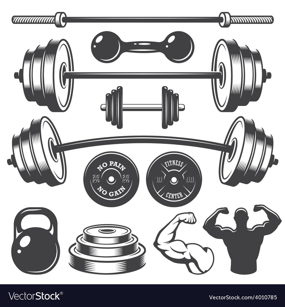 Set of vintage fitness designed elements vector