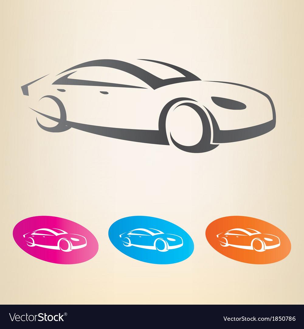 Modern car outlined symbol vector