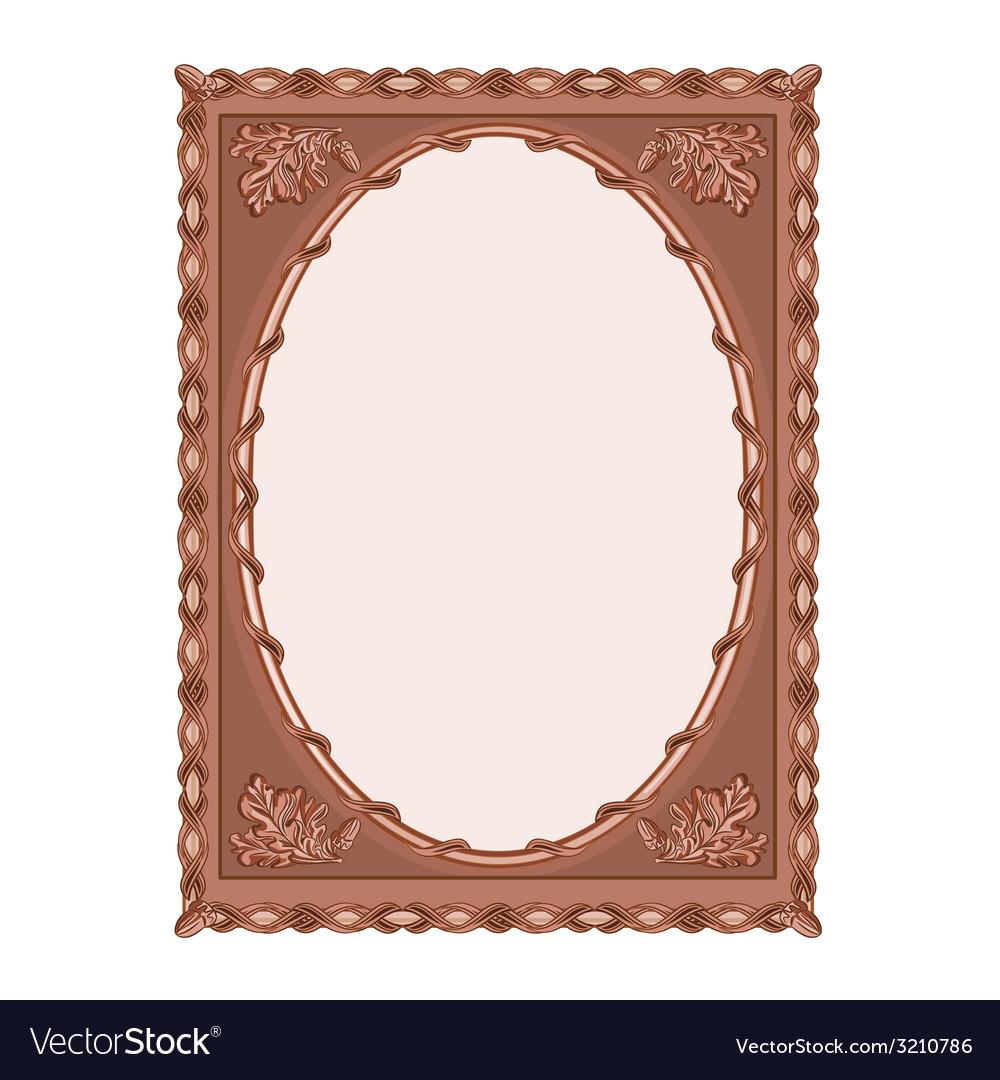 Wooden frame carved oak leaf vintage vector