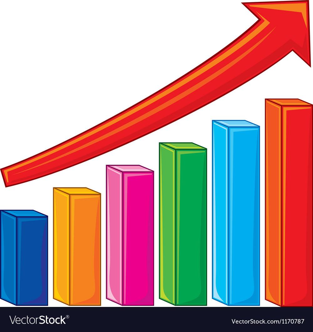 Bar graph-increase diagram vector