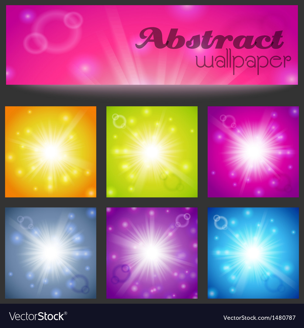 Set of abstract magic light background vector