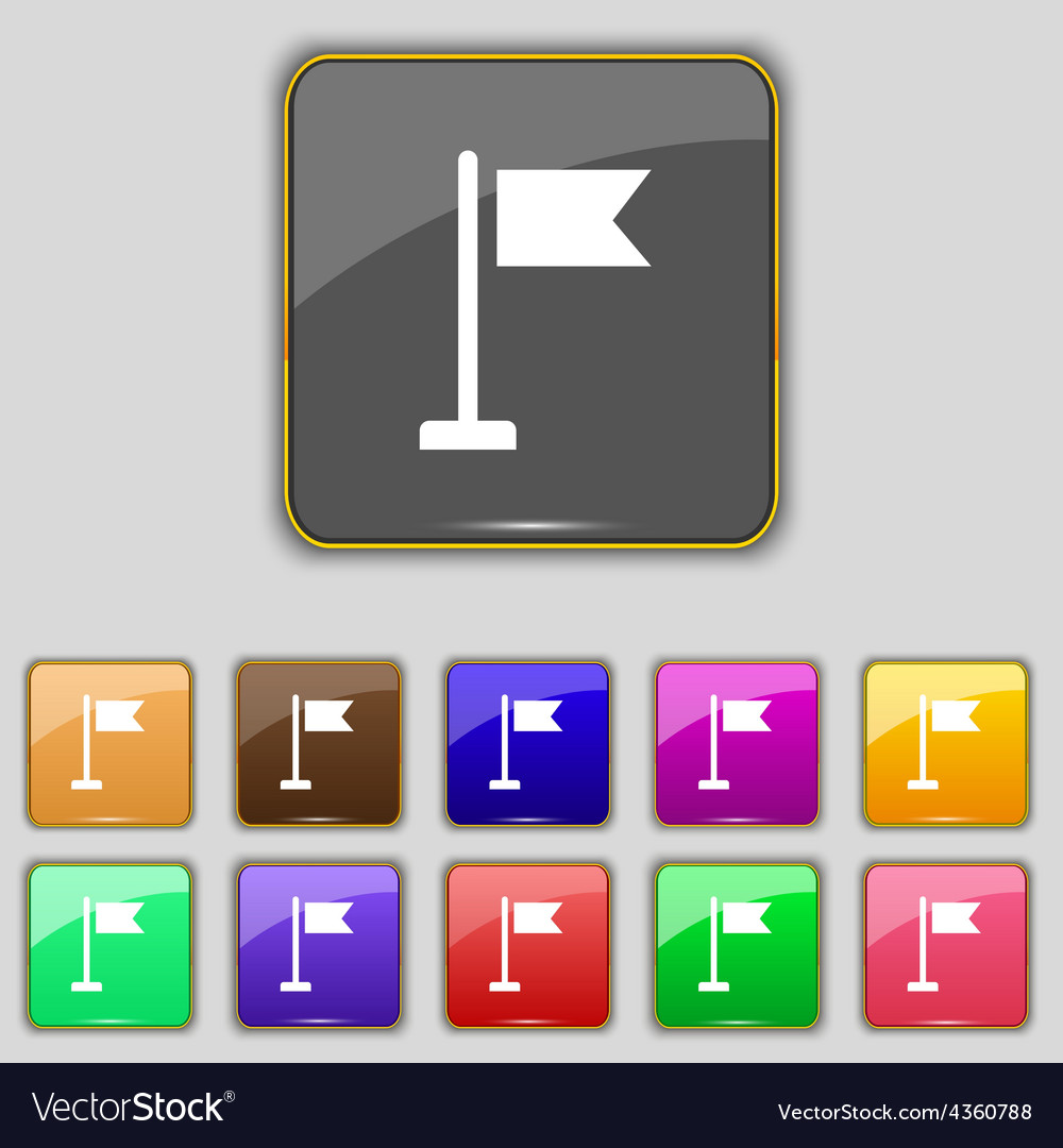 Flag icon sign set with eleven colored buttons for vector