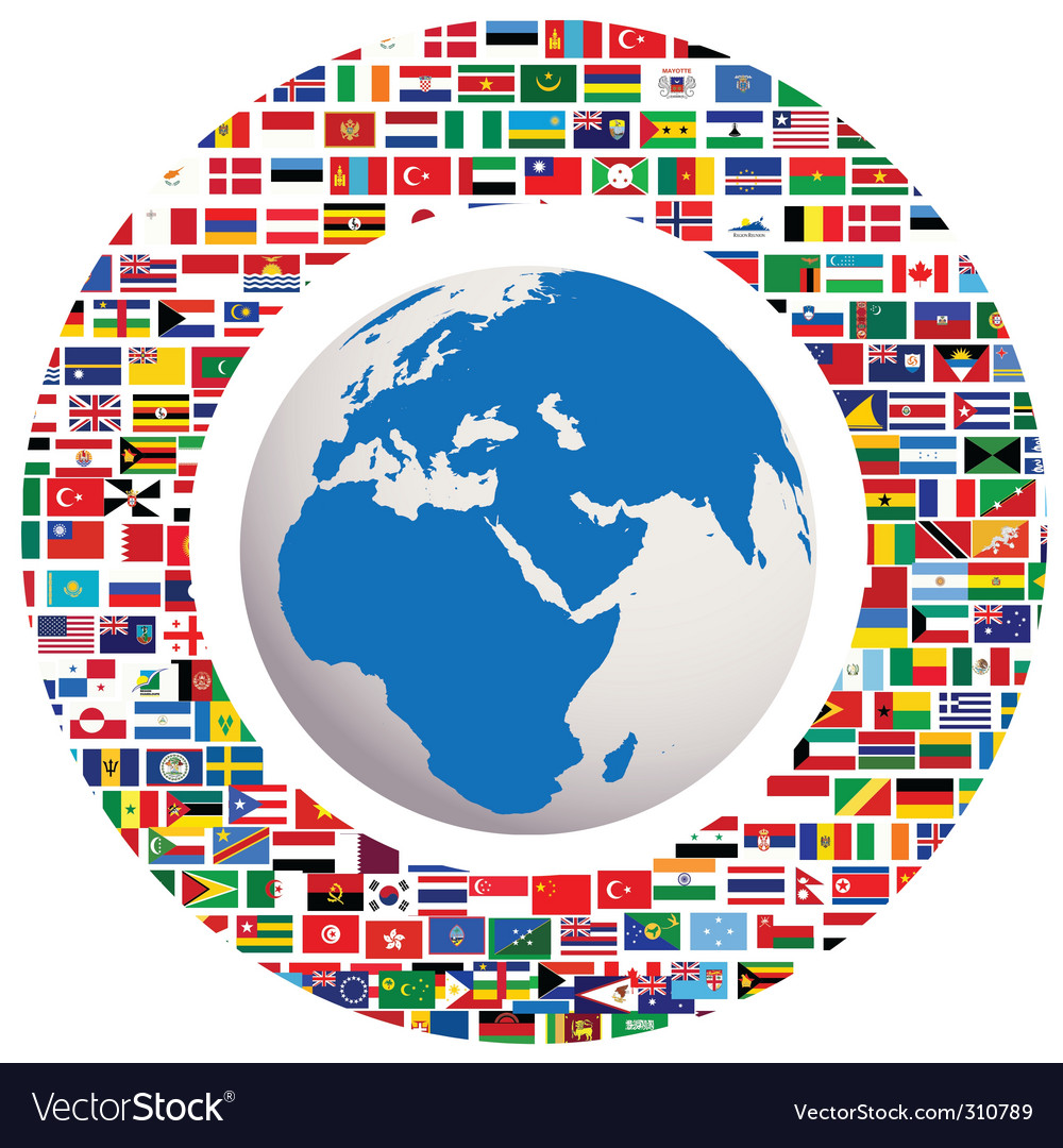Earth globe with all flags vector