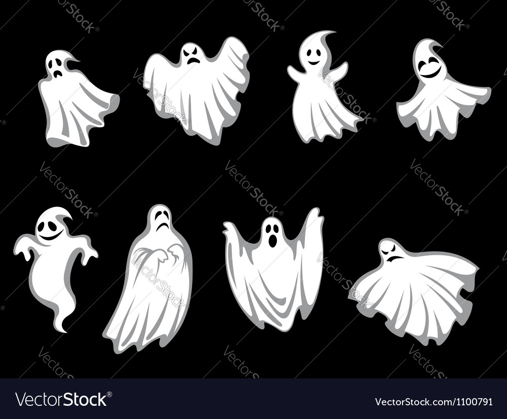 Mystery halloween ghosts vector