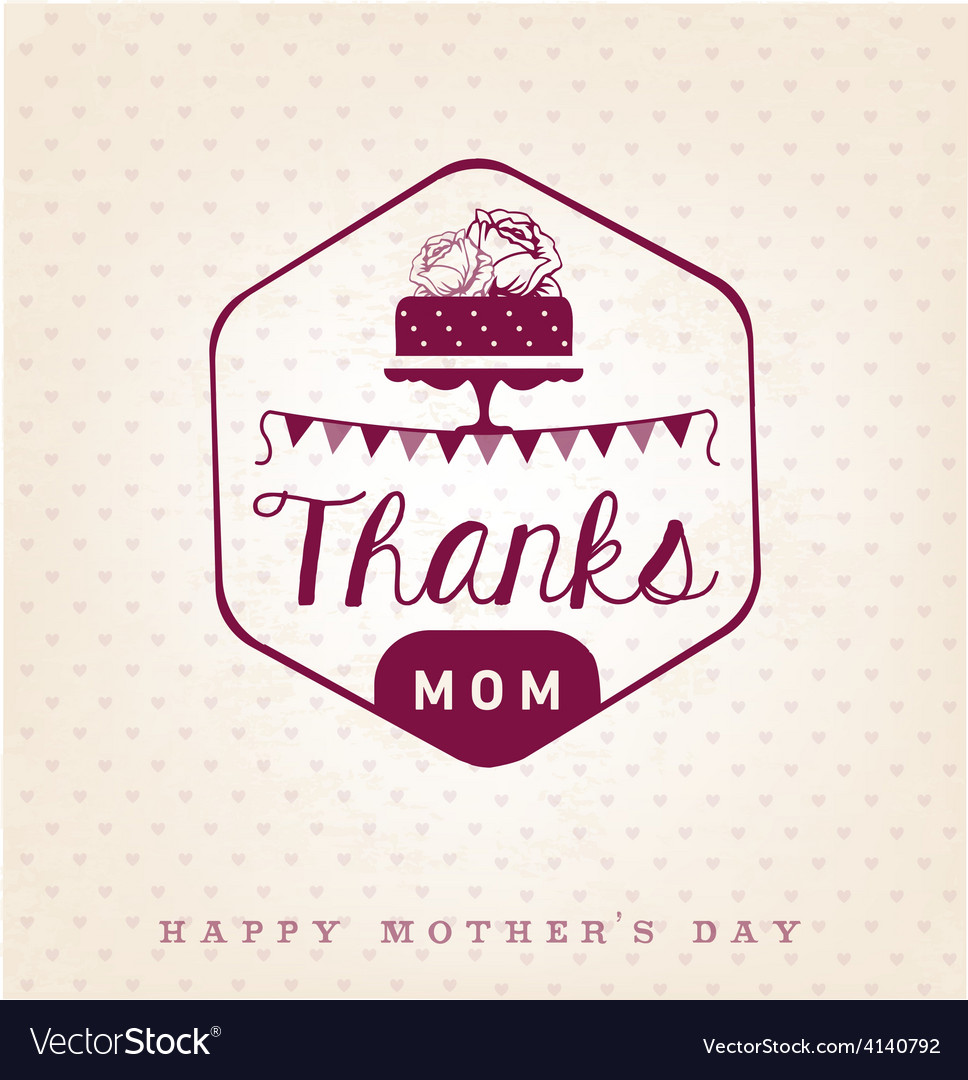 Thanks mom design element greeting cards vector