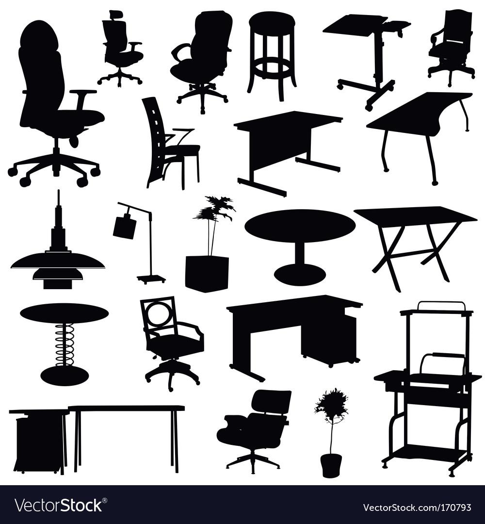 Office furniture set vector