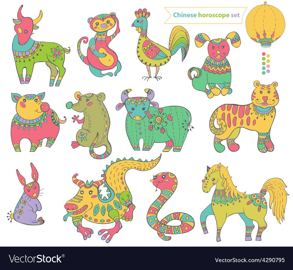 Chinese horoscope animals vector