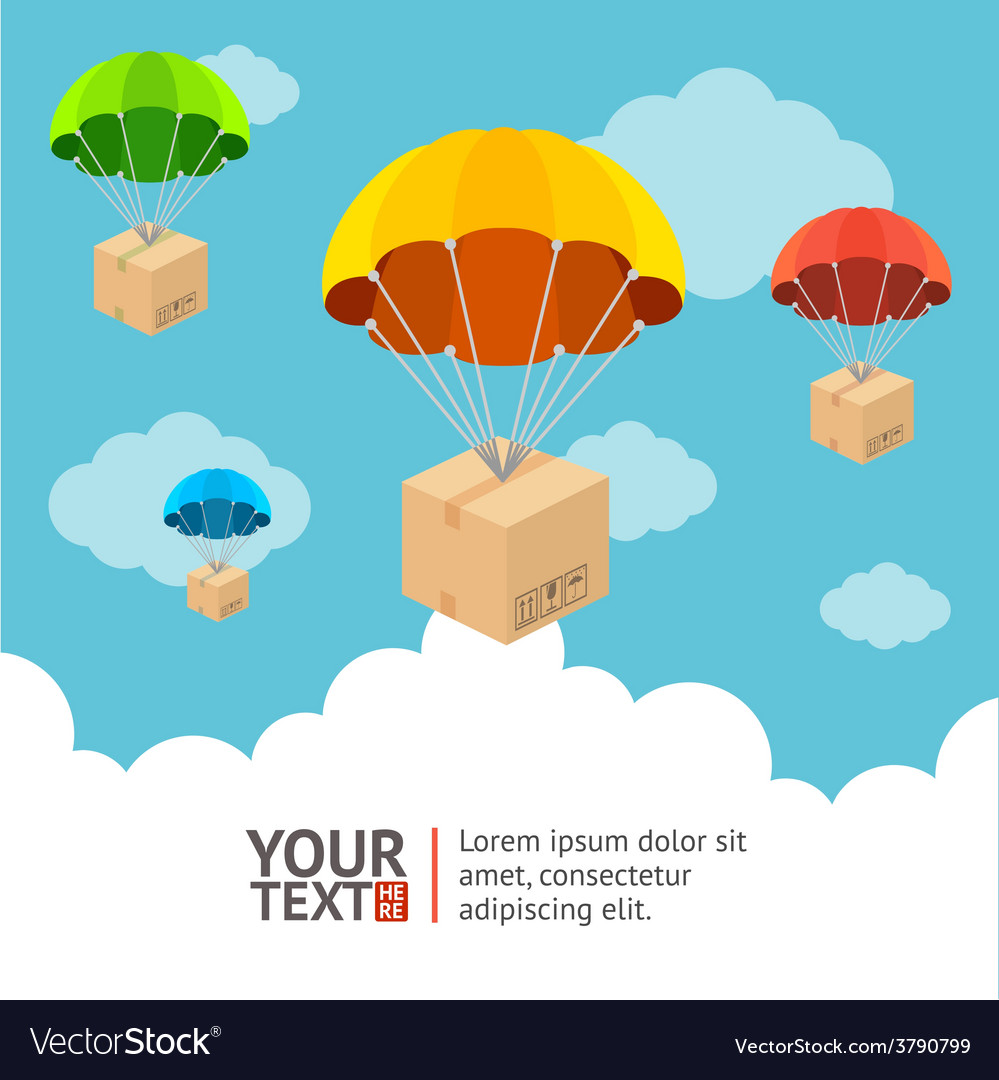 Parachute card vector