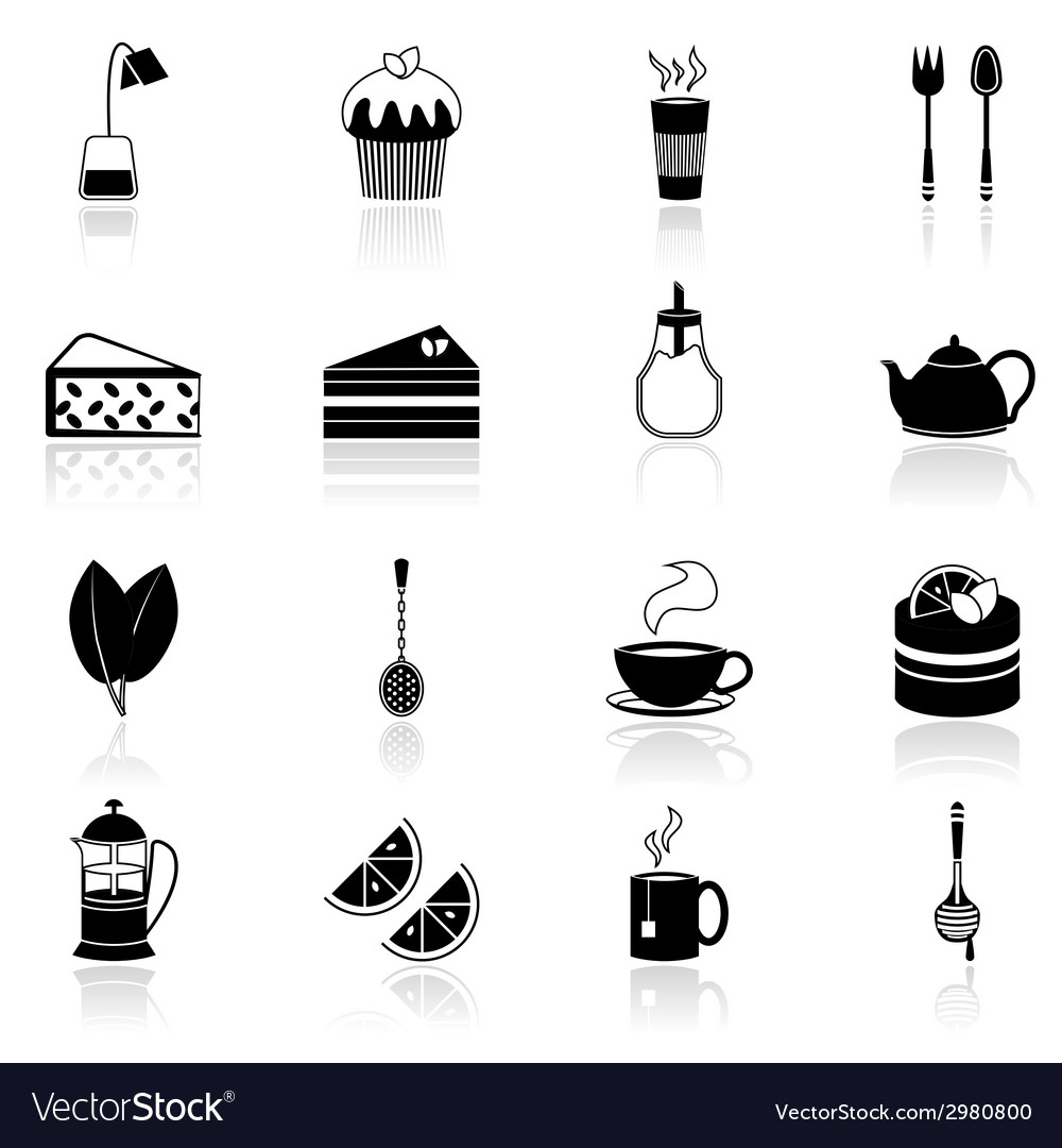 Tea icons set black vector