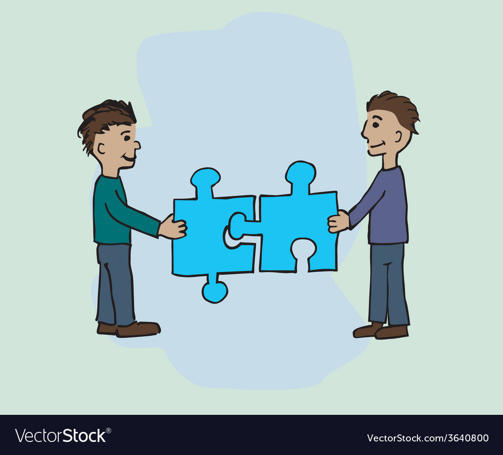 Two men fitting a jigsaw vector