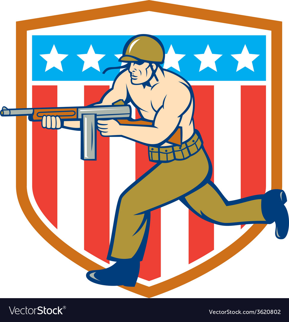 World war two soldier american tommy gun shield vector