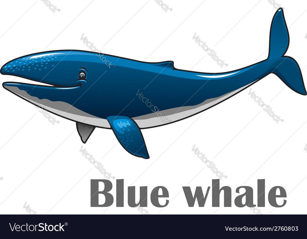 Cartoon blue whale vector