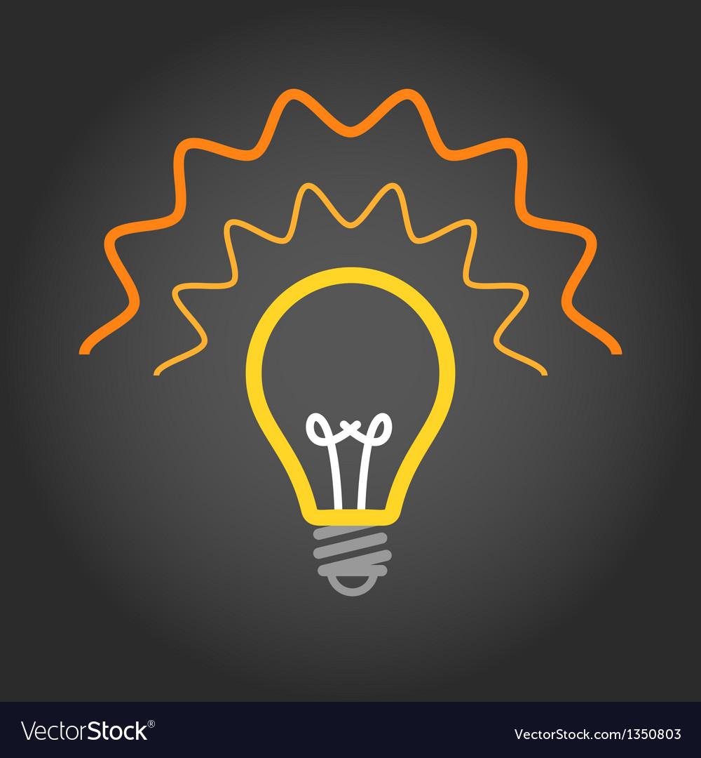 Lighting light bulb on dark background vector