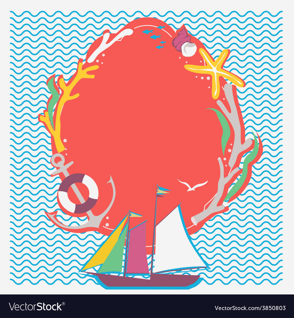 Nautical theme frame with sailing vessel vector