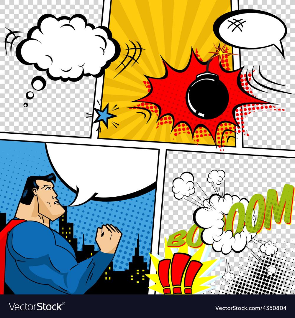 Retro comic book speech bubbles vector