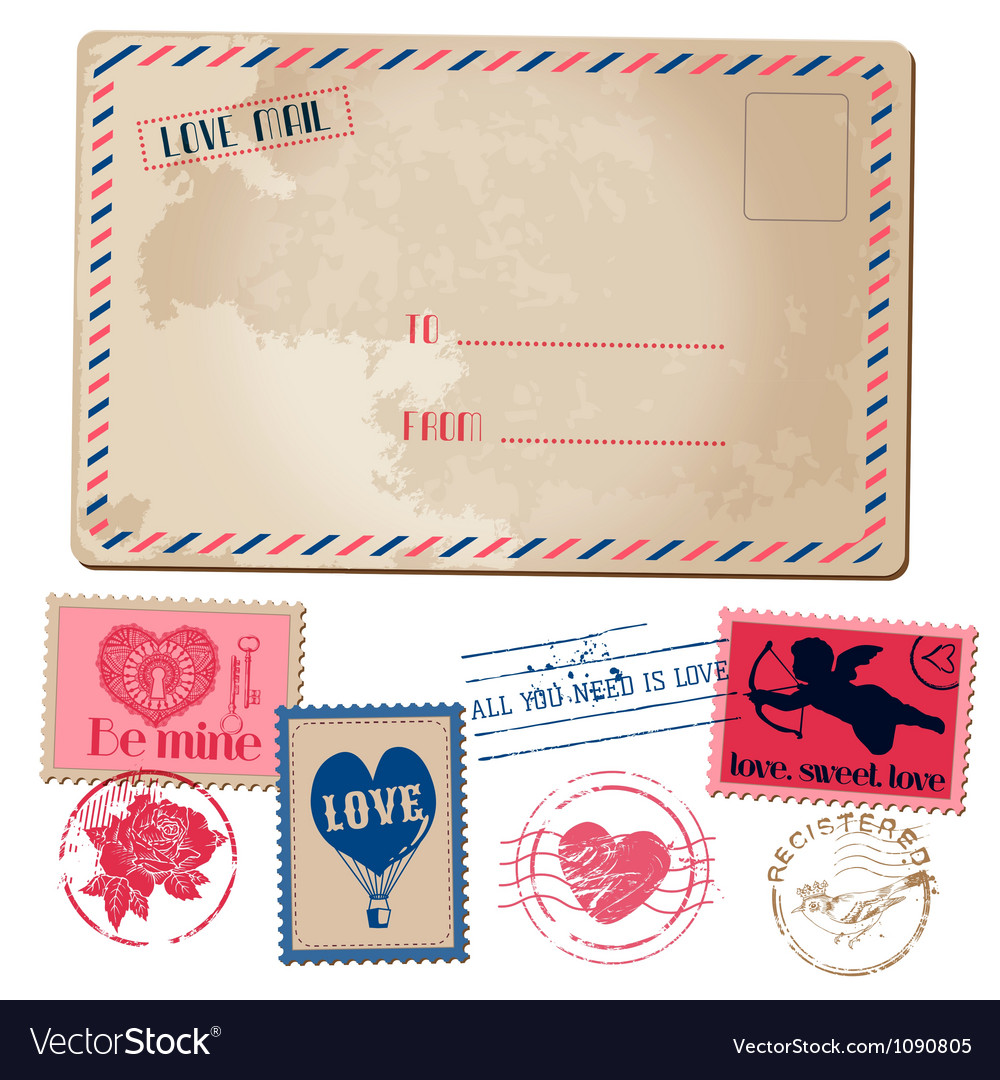 Vintage love card vector