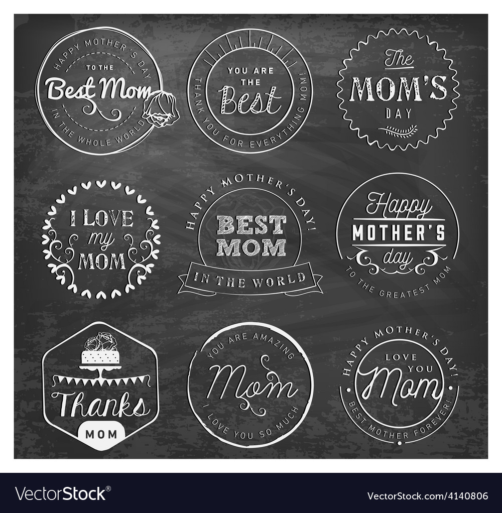 Best mom design elements and badges vector