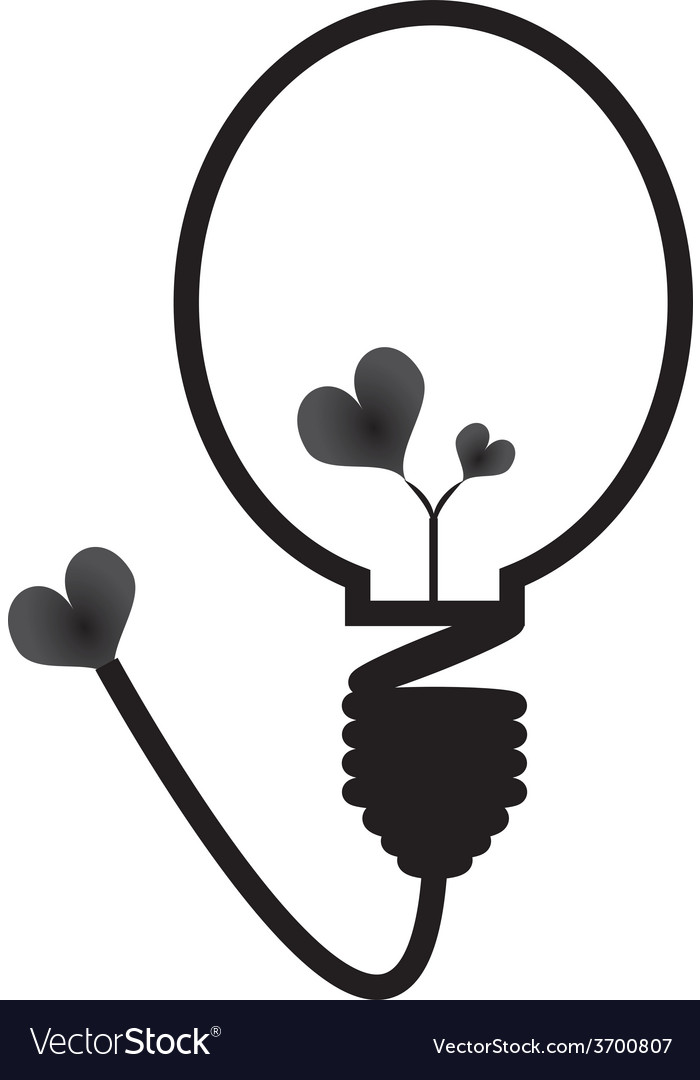 Energy saving bulb concept of love vector